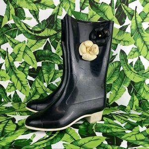 Chanel Camellia Flower Knee High Black Rain Boots